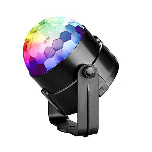 Refoss Mini LED Lichteffekte Disco Licht Party Licht Bühnenbeleuchtung 3W RGB Sprachaktiviertes Kristall 7 Farben Magic Ball Bühnenlicht für Show Disco Ballsaal KTV, Hochzeit Show, Bars, Club (Batteriebetriebenes Stroboskop Licht)