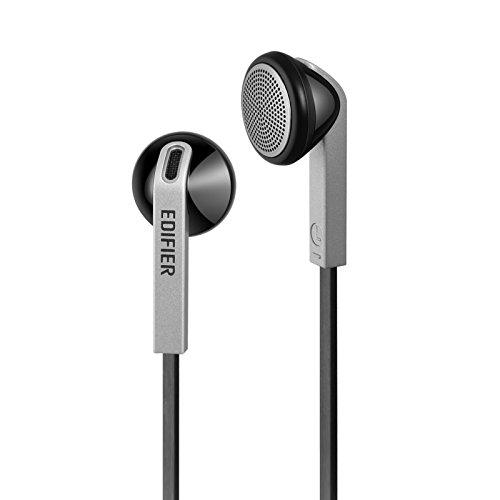Edifier H190 Premium Earbuds Klassisches Design Earbud Kopfhörer Ohrhörer Mit verhedderfreiem Kabel Ohne Mikro Schwarz