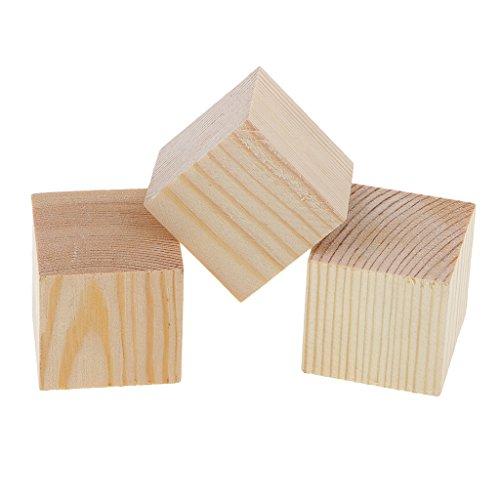 B Baosity Bloques de Madera de Cubo Puede Decorar con Símbolos Letras Personales Mostrar en Casa - Natural, 3 Piezas 40x40x40 mm