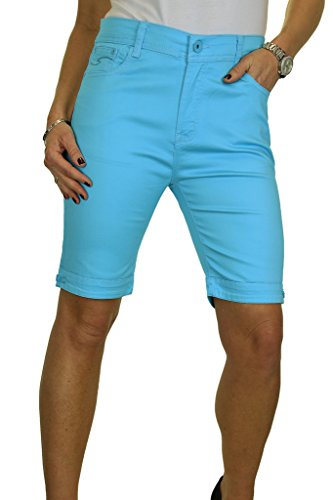 ICE (1515) Short en Jeans Type Chino Extensible et Brillant Grande Taille Turquoise