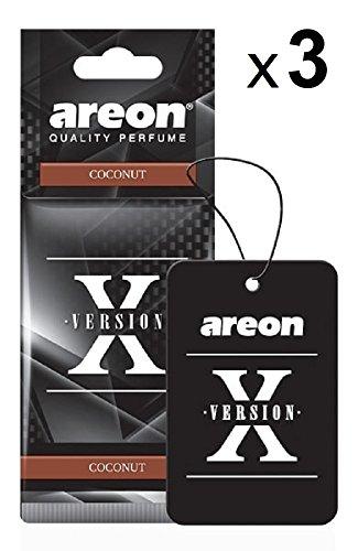AREON X Deodorante Profumo Auto Cocco Dolce Tropical Originali Nero Da Appendere Pendente Specchietto Retrovisore Cartoni 2D Casa Set (Coconut Pack x 3)