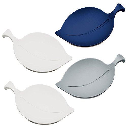 Glasabdeckung Glasmarkierer Teebeutelablage Leaf-On Schale, 4 Stück, Kunststoff farbig, 1 Set (Farbige Kunststoff-schalen Servieren)