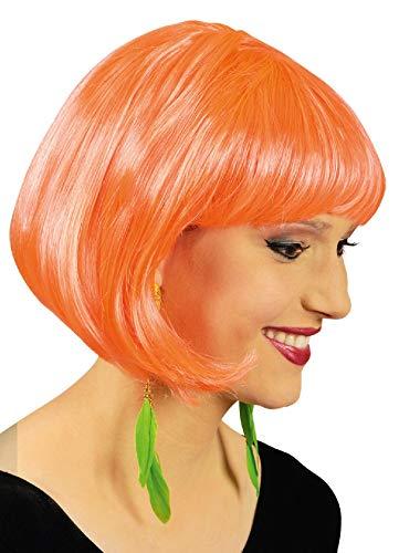 narrenkiste K11276924 neon-orange Damen Perücke Bob Disco - Foxy Perücke