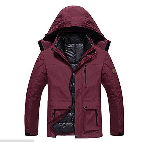 Hommes imperméables Vestes chaudes en plein air Imperméable Épaistage Vêtements de sport à vent Randonnée Mountaineer Voyage Hiver ( Color : Red wine , Size : L )