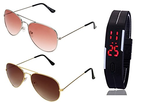 SHEOMY SUNGLASSES 2 COMBO OF SILVER ORANGE AVIATOR SUNGLASSES AND AVIATOR GOLDEN BROWN SUNGLASSES WITH TPU BAND RED LED DIGITAL BLACK DIAL UNISEX WATCH Best Online Gifts