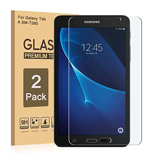 Galaxy Tab A 7.0 SM-T280 Displayschutzfolie aus gehärtetem Glas für Samsung T280 Shield 9H Härtegrad, kristallklar, Kratzfest, blasenfrei, volle Abdeckung (2 Stück) (7 4 Samsung Tab Lite Galaxy)