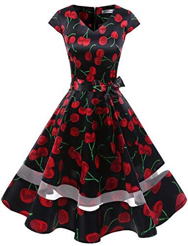 (Gardenwed 1950er Vintage Retro Cocktailkleid Cap Sleeves Rockabilly Kleider Damen Schwingen Petticoat Faltenrock Black Cherry XS)