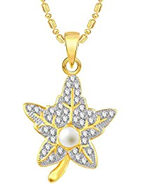 VK Jewels Pearl Studded Leaf Gold And Rhodium Plated Alloy CZ American Diamond Pendant With Chain For Women [VKP2530G]