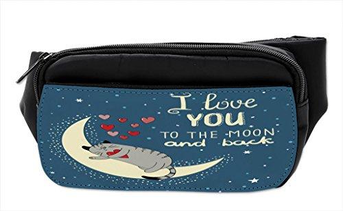 Lunarable Hüfttasche mit Herzen, Katze auf dem Mond, Bauchtasche