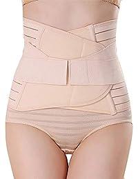 GLAMORAS Women's Postpartum Recovery Belly Band Waist Trainer Cincher Trimmer Tummy Control Slimming Body Shaper Shapewear Belt (Beige, Free Size)