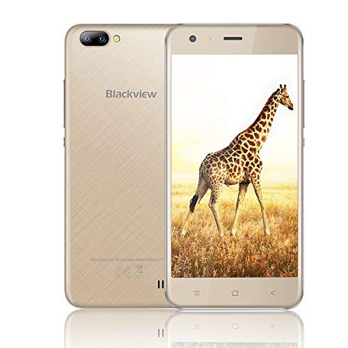 Mobile Phones Unlocked, Blackview A7 3G Dual SIM Free Smartphones with 5.0 Inch HD IPS Display - Android 7.0 Smartphone - MT6580A Quad Core 1.3GHz - Rear Dual Camera 5.0MP - 2800mAh Large Capacity - 8GB ROM - Gold