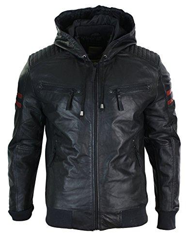 Veste homme cuir véritable noir avec capuche style bomber USA rayures rouges sur manches matelassage épaules