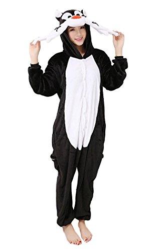 Katze Für Mädchen Kostüme Tween (Katze Silvester Pyjamas Kostüm Erwachsene Unisex Pyjamas Tier Cosplay Halloween Fasching Karneval Plüsch Tierkostüme)