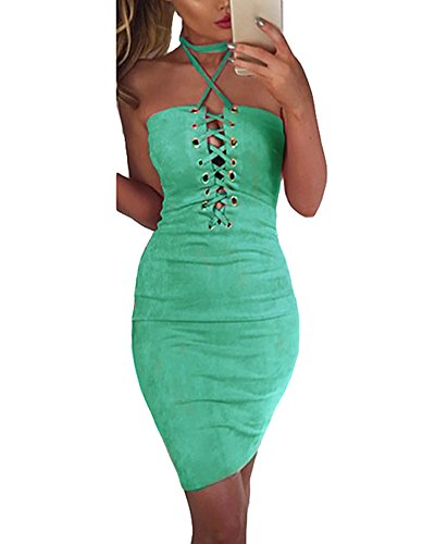 Romacci Damen Off Schulter Kleid Halter Crisscross Bandage Bodycon Kleid Party Clubwear