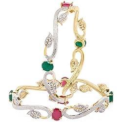 Jewels Galaxy Sparkling Ruby Green Floral Design American Diamond Bangles