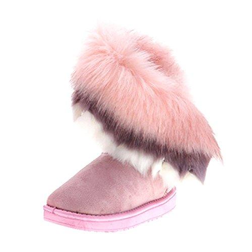 Gefüttert Stiefel Fell Mit (Damen Stiefeletten Winter Boots Fell Gefüttert Schlupfstiefel Damen Flach Stiefel Rosa Frauen Kurzschaft Outdoor Schuhe 40 Meedot)