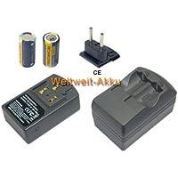 Chargeur+ 2 Stück Batteries avec 500mAh Batterie de remplacement pour ENERGIZER 123, EL123, EL123A, EL123AP, EL123AP-2