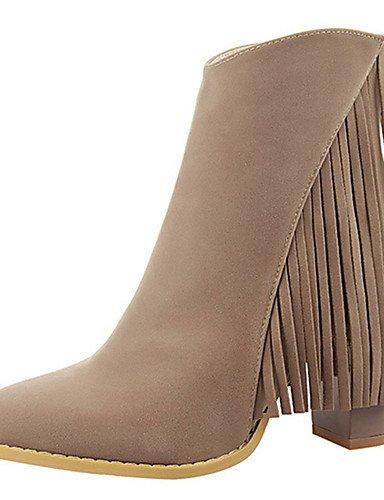 WSS 2016 Chaussures Femme-Décontracté-Noir / Marron / Rouge / Kaki / Amande-Gros Talon-Talons-Talons-Similicuir red-us5 / eu35 / uk3 / cn34
