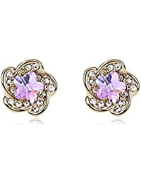 NEVI Stylish Flower Swarovski Crystals 18K Gold Plated Stud Earrings Jewellery For Women And Girls