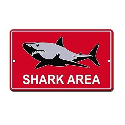 Monsety Wall Art Decorative Signs Shark Area Metal Room Plaque Funny Aluminum Sign