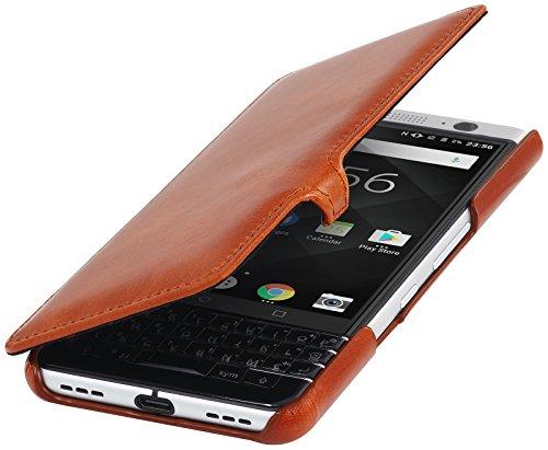 StilGut Book Type Case mit Clip, Hülle Leder-Tasche für BlackBerry KEYone. Seitlich klappbares Flip-Case aus Echtleder für Das Original BlackBerry KEYone, Cognac