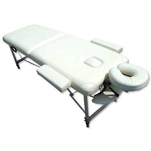 Melko Massageliege Profi Massageliege 2 Zonen aus Aluminium und Holz, klappbar und höhenverstellbar, Creme - inkl. Schutzhülle -