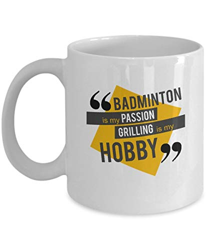 NA Badminton Mug - is My Passion - Hobby Gifts for Teens - 11 oz Ceramic Coffee Cup