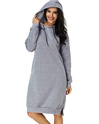 Eshal Damen Hoodies Jumper Warme Strickjacke Lange Tops Mantel Pullover Sweatshirt Lose Lässige Maxi Kleid (Medium, Grau) -