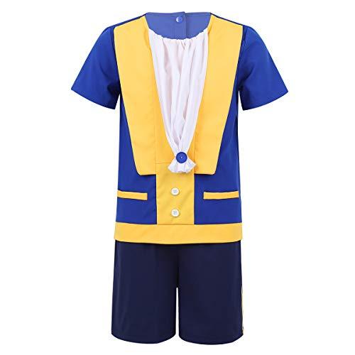FEESHOW Kinder Jungen Prinz Cosplay Kostüm Kurzarm Hemd mit Shorts Set für Halloween Party Dress Up Kids Blau 92-98/2-3 - Prinz Kostüm 2 3 Jahre