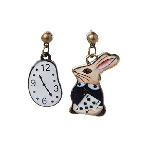 Kofun 1 Paar Ohrringe, Kaninchen Clock Poker Party -