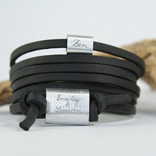 FOREVER Armband mit Gravur, Namensarmband, Wickelarmband, Familienarmband, Schwarz, Aluminium, Männerarmband