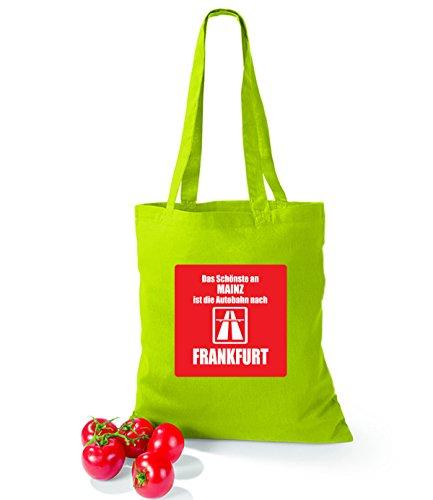 Artdiktat Baumwolltasche Das Schönste an Mainz ist die Autobahn nach Frankfurt sunflower limegreen