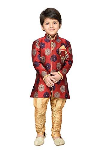 AJ Dezines Boys Indo Western Sherwani Suit for Kids (7001_RED_5)