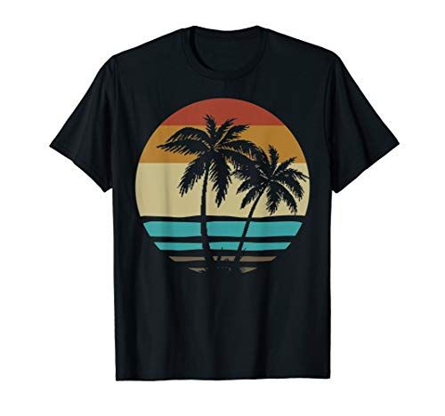 Retro Vintage Sunset Coco Palm Tree Tropical Beach Love Gift T-Shirt -