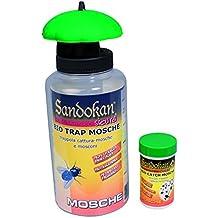 Sandokan SAN7646 Kit biológico para atrapar insectos, incluye 1botella de líquido atrayente + 1gancho para capturar moscas, avispas o insectos