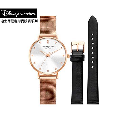 Frauen Klassische Quarzuhr mit Mesh-Armband mit Strass Shell großes Zifferblatt Armband Wasserdichte Mode Damenuhr, gebürstete Oberfläche+Lederband