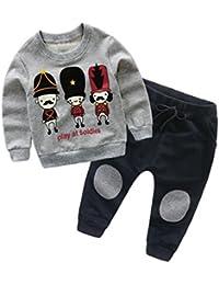 Bonjouree Sweatshirt Garçon Pull Imprimé Ensembles Pantalons et Haut Hiver Chaud Enfants 1-6 Ans