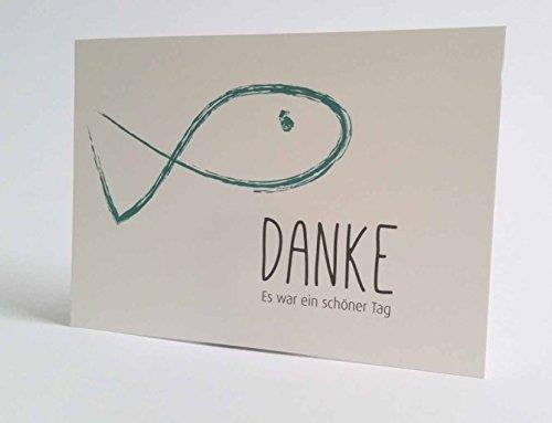 """20 Hochwertige Danksagungskarten """"Danke"""" Konfirmation - Kommunion - Taufe - Firmung Fisch C6 mit farbigem Umschlag"""