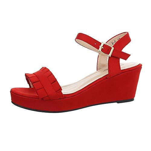Ital-Design Damenschuhe Sandalen & Sandaletten Keilsandaletten Synthetik Rot Gr. 37