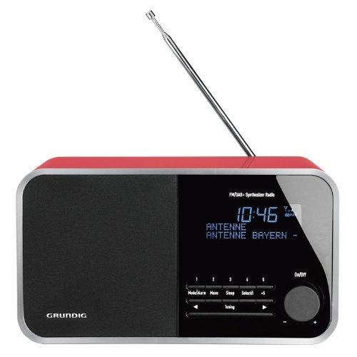 Grundig TR 2200 DAB+ Digital Radio (30 Watt PMPO, AUX-IN, UKW-RDS und DAB+ mit 10 Stationsspeicher) glänzend rot