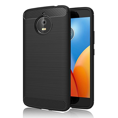GeeRic Motorola Moto E4 Plus Hülle, Schwarz Silikon Handyhülle für Lenovo Moto E4 Plus Handy Schutzhülle Karbon Look Elastisch Stylisch Soft Case Cover 5.5""