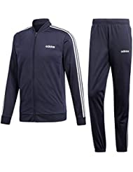3083776646 adidas Back to Basic 3 Stripes Tracksuit, Tuta Uomo, Legend Ink/Bianco,