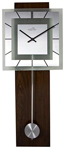 "NeXtime große Wanduhr ""RETRO PENDULUM SQUARE RC"", Funkuhr, mit Pendel, Glas/Holz, 80 x 32 cm"