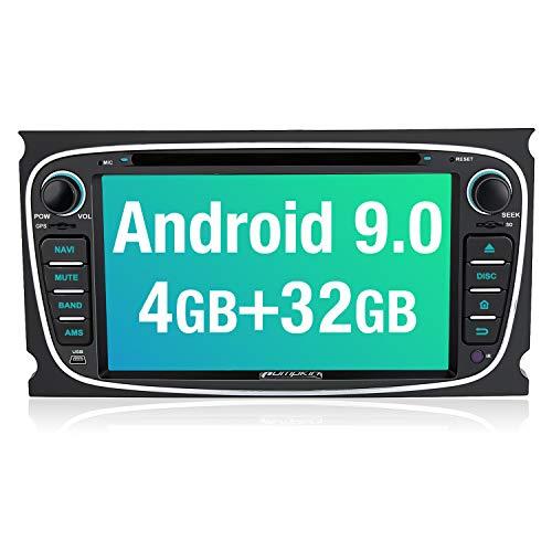 PUMPKIN Android 9.0 Autoradio Radio für Ford Focus Mondeo mit Navi Unterstützt Bluetooth DAB + CD DVD WiFi 4G Android Auto USB MicroSD 2 Din 7 Zoll Bildschirm Schwarz