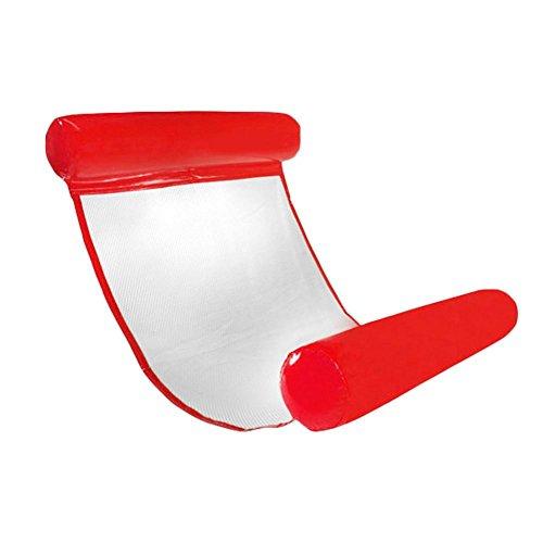 Chengstore - comoda sdraio/amaca gonfiabile ad aria da piscina, portatile, galleggiante, leggera e compatta, per adulti e bambini, con piccola pompa in dotazione, rosso