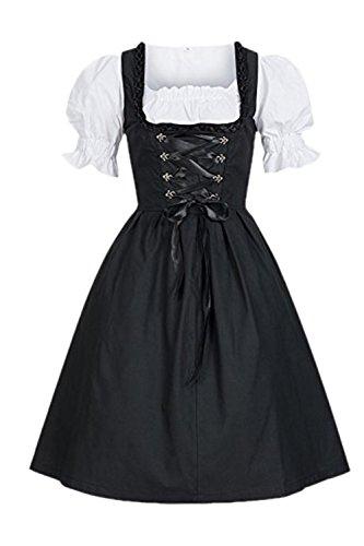 (YACUN Deutschen Damen Dirndl Kleid Oktoberfest Dienstmädchen Kostüm Schwarz 4XL)
