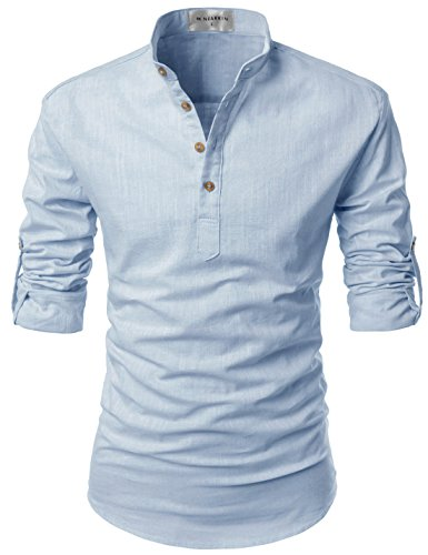 Nearkin Men Henley Neck Roll Up Solid Long Sleeve Linen Stand Collar Shirts