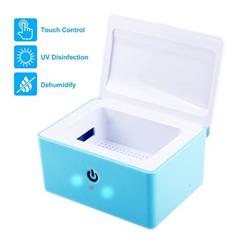 drybox hoergeraete REAQER Portable Trockenbox Trockenstation zur Hörgeräte-Trocknung UV-C Licht - 99,9% Keimbeseitigung - Blau
