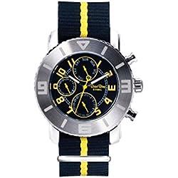 Ross Rino Chamäleon (Sternbild) Unisex Quarzuhr mit Gelb Zifferblatt Analog-Anzeige und Gelb Nylon Armband