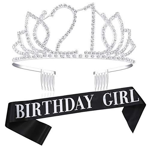 Coucoland Geburtstag Krone mit Geburtstag Schärpe Satin Birthday Crown and Sash Set Geburtstagsdeko Geschenk für Damen 18/21/30/40/50 Geburtstag Party Accessoires (Silber - 21 Jahre alt) (21 Tiara Geburtstag)